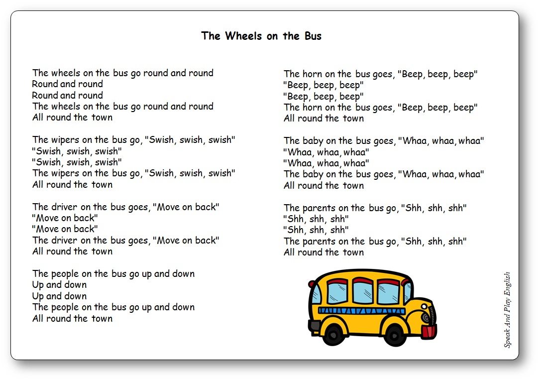 The Wheels on the Bus Lyrics in English and in French