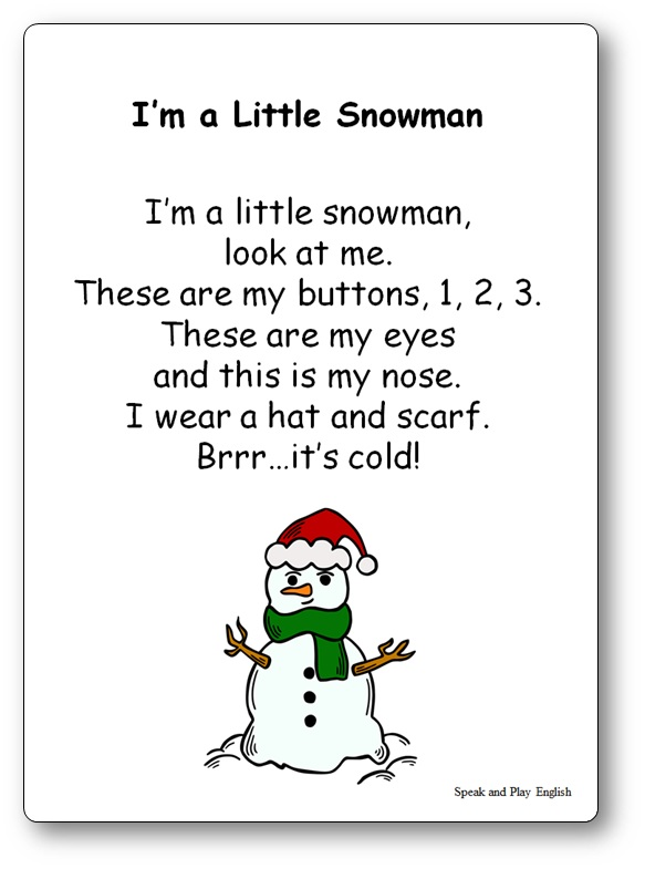 I'm a Little Snowman Song Lyrics