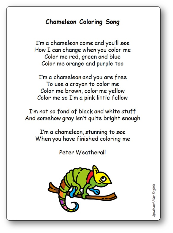 Chameleon Coloring Song Lyrics by Peter Weatherall