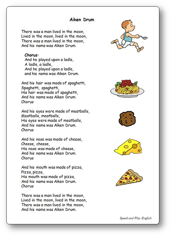 Children Song Aiken Drum Lyrics