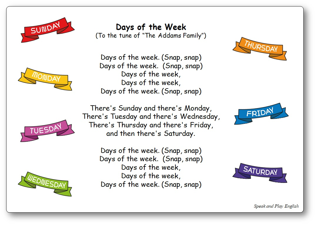 Days of the Week Addams Family French English