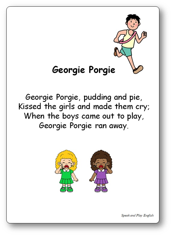 Georgie Porgie Pudding and Pie Nursery Rhyme, Georgie Porgie Lyrics